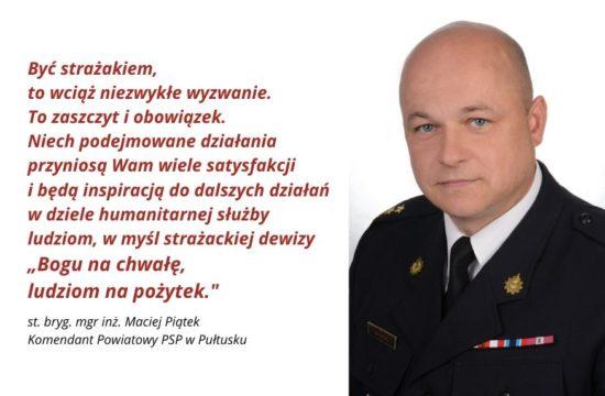 życzenia komendanta PSP w Pułtusku z okazji dnia strażaka