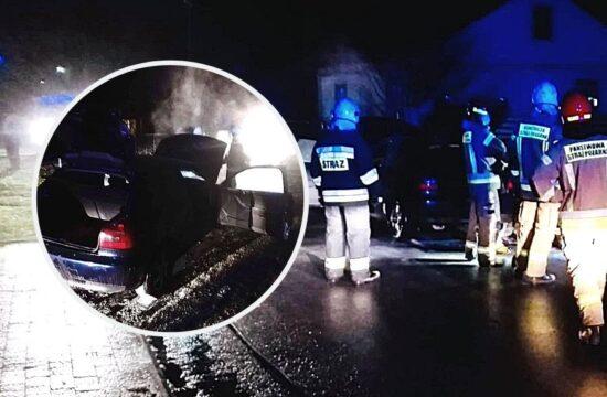 pożar samochodu w Lutobroku